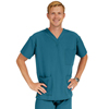 Medline Madison Ave Unisex Stretch Fabric Scrub Top with 3 Pockets, Blue, Medium MED 5515CRBM