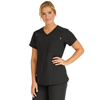 Medline Berkeley Ave Womens Stretch Fabric Tunic Scrub Top with Pockets, Black, XL MED 5582BLKXL