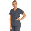 Medline Berkeley Ave Womens Stretch Fabric Tunic Scrub Top with Pockets, Black, XL MED 5582CHRXL
