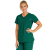Medline Berkeley Ave Womens Stretch Fabric Tunic Scrub Top with Pockets, Green, Large MED 5582HTRL