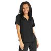 Medline Park Ave Womens Stretch Fabric Mock Wrap Scrub Top with Pockets, Black, Medium MED 5587BLKM