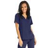 Medline Park Ave Womens Stretch Fabric Mock Wrap Scrub Top with Pockets, Blue, Large MED 5587NVYL