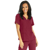 Medline Park Ave Womens Stretch Fabric Mock Wrap Scrub Top with Pockets, Red, Large MED 5587WNEL