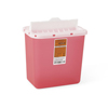 Medline Biohazard Patient Room Sharps Disposal Containers, Clear/Red, 8 QT MED MDS701202FH