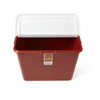 Medline Sharps Containers, Red, Hinged Top Lid, 10 gal., 6 EA/CS MED MDS705210HN