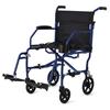 Medline Ultralight Transport Chairs, Blue, F: 6  R: 8, 1/EA MED MDS808200F3B
