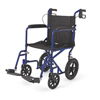 "Hypodermic Needles Syringes With Safety: Medline - Aluminum Transport Chair with 12"" Wheels, Blue"