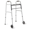 Medline Two-Button Folding Walkers with 5 Wheels MED MDS86410W54H