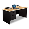 Marvel Group Pronto® Single Pedestal Desk, 60W x 30D - Oak Laminate and Black Finish MLG PDR6030SP-BK-OKPU