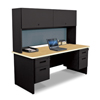 Marvel Group Pronto® 72 Double File Desk with Flipper Door Cabinet, 72W x 30D:Black/Oak, Slate MLG PRNT5-BK-F8568-OKPU