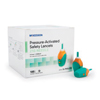 Lancets: McKesson - Safety Lancet McKesson Fixed Depth Lancet Needle 2.0 mm Depth 21 Gauge Pressure Activated, 100/BX