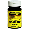 National Vitamin Company Vitamin D Supplement Natures Blend 400 IU Strength Tablet 100 per Bottle MON 26882700