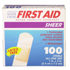 Dukal Adhesive Strip American® White Cross First Aid 1 x 3 Plastic Rectangle Sheer Sterile, 1200/BX MON 97285BX