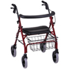 Nova Ortho-Med Rolling Walker Cruiser Deluxe Red Adjustable Height MON 44443800