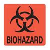 United Ad Label Pre-Printed Label Warning Label BIOHAZARD Fluorescent Red 6 X 6 Inch, 10/PK MON 51004700