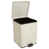 McKesson Trash Can with Plastic Liner 20 Quart Square White Steel Step On, 1/EA MON 52694101