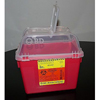 BD Multi-purpose Sharps Container Multi-Use Nestable 10.07 x 7.09 x 9.84 8 Quart Red Base Clear Lid Open Top MON 53432800