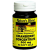 National Vitamin Company Cranberry Supplement Natures Blend 500 mg Strength, 60 Softgels per Bottle MON 54622700