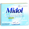 Bayer Pain Relief Midol Complete 500 mg / 60 mg / 15 mg Strength Caplet 24 per Box MON 59392700