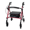 McKesson 4 Wheel Rollator Red Adjustable Height Aluminum Frame, 1/ EA MON 62613800
