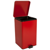 McKesson Trash Can with Plastic Liner 32 Quart Square Red Steel Step On, 1/EA MON 62674101