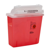 Medtronic SharpSafety™ Safety In Room Sharps Container Counterbalance Lid, Transparent Red 5 Quart MON 85072820