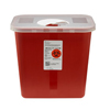 Exam & Diagnostic: Medtronic - SharpSafety™ Sharps Container, Rotor Lid, Red, 2 Gallon
