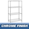 Nexel Industries Wire Shelving Starter Unit, 4 Shelves, L 30x W 24x H 74 NEX 24307C