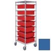 Quantum Storage Systems Bin Cart with Dividable Grid Containers QNT BC212469M2-BL-EA
