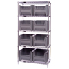 Quantum Storage Systems Wire Shelving Unit with Giant Open Hopper Bins - 1 per Case