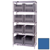 Quantum Storage Systems Wire Shelving Unit with Giant Open Hopper Bins QNT WR5-800BL-EA