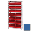 Quantum Storage Systems Wire Shelving Unit with Ultra Bins QNT WR8-250BL-EA