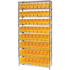 Quantum Storage Systems Wire Shelving Unit with Store-More Bins QNT WR9-201YL-EA