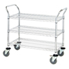 Janitorial Carts, Trucks, and Utility Carts: Quantum Storage Systems - 3 Wire Shelf Mobile Utility Cart