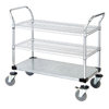 Janitorial Carts, Trucks, and Utility Carts: Quantum Storage Systems - 2 Wire Shelf & 1 Solid Shelf Mobile Utility Cart