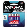Rayovac High Energy Premium Alkaline Battery, C, 2/Pack RAY 8142K