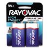 Rayovac High Energy Premium Alkaline Battery, 9V, 4/Pack RAY A16044TK