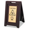 Rubbermaid Commercial Executive 2-Sided Multi-Lingual Wooden Caution Sign RCP 1867507