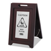 Rubbermaid Commercial Executive 2-Sided Multi-Lingual Wooden Caution Sign RCP 1867508