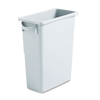 rubbermaid: Slim Jim Waste Container w/Handles, Rectangular, Plastic, 15.875gal, Light Gray