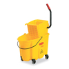 Rubbermaid Commercial Wavebrake 26 Quart Side Press Mop Bucket & Wringer Combo, Yellow RCP 748000YEL