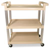 utility carts, trucks and ladders: Rubbermaid® Commercial Three-Shelf Service Cart with Brushed Aluminum Uprights
