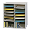 Safco Adjustable Compartment Wood Literature Organizers SFC 9422GR
