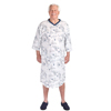Silverts Mens Adaptive Poly-Cotton Hospital Nightgown - Open Back - Snap Back SIL 500502404