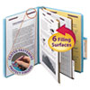 Clean and Green: Smead® 6-Section Colored Pressboard Top Tab Classification Folders with SafeSHIELD™ Coated Fastener
