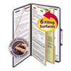 Smead Smead® 6-Section Colored Pressboard Top Tab Classification Folders with SafeSHIELD™ Coated Fastener SMD19035