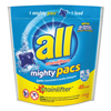 cleaning chemicals, brushes, hand wipers, sponges, squeegees: All® Mighty Pacs Super Concentrated Laundry Detergent