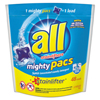 cleaning chemicals, brushes, hand wipers, sponges, squeegees: All® Mighty Pacs Free and Clear Super Concentrated Laundry Detergent