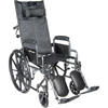 "Rehabilitation: Drive Medical - Silver Sport Reclining Wheelchair with Elevating Leg Rests, Detachable Full Arms, 16"" Seat"