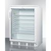 Summit Appliance Accucold Medical® Commercially Listed Built-In Undercounter Glass Door All-Refrigerator with White Cabinet and Front Lock SMA SCR600LBI